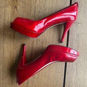 Stuart Weitzman Patent Red Open Toe Pumps - Size 8